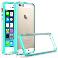 Luxury double colors tpu acrylic transparent crystal clear case for iphone5 case