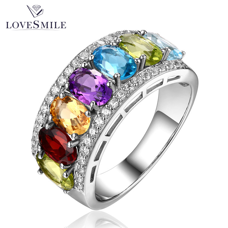 Customized 925 silver rings jewelry women fancy natural stone engagement wedding ring
