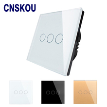 EU standard energy saving glass panel 3gang 1way electrical wall touch light switch SK-A803-01