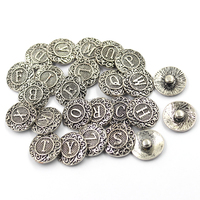 20mm Vintage Silver Greek Letter V Pattern Metal Button Charms for Snap Bracelets