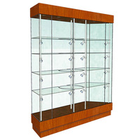 wooden frame glass rack tall display cabinet for fashion store