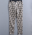 Custom label oem fitted high quality cotton spandex casual women printed pants