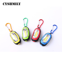 CYSHMILY ABS Plastic Metal Key Ring Promotional CR2032 Battery EDC Mini Cheap Led Cob Keychain Flashlight