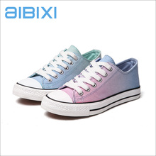 AIBIXI New Spring/Autumn Custom Logo Famous Brand Couple Gradual Color Canvas Shoes