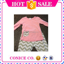 2015 pink gray chevron 2-piece girls cotton suits wholesale cheap high quality sets