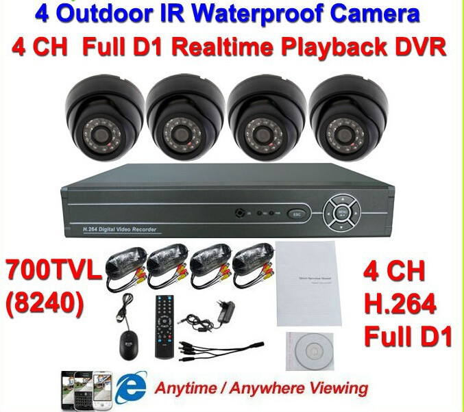 700TVL IR Outdoor Waterproof & Indoor Dome Camera Surveillance Video System 4CH Full D1 H.264 CCTV Network DVR Kit Night Visio