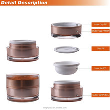 special design 15g 30g 50g round arcylic jar rose gold container cosmetic
