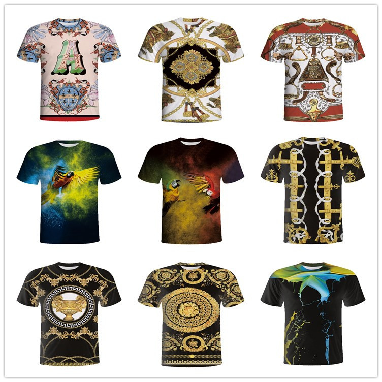 2018 cotton blending 3d digital printed men t-shirt custom t shirt printing