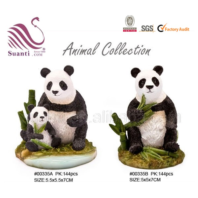 Customized Cute Garden Resin Bamboo Animal Panda Statue for Home Decoration