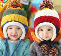 Demarkt Baby Girls/Boys Knitted Winter Warm Earflap Hats Caps Infant Beanie Fleece Hem Red
