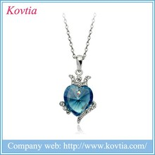 Neckles jewelry wholesale queen crown heart necklace blue sapphire pendant neclace
