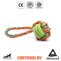cotton rope knot dog rope toy eco friendly with rubber toy