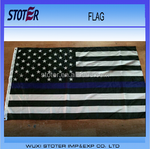 100% polyester 3*5ft customized thin blue line American flag