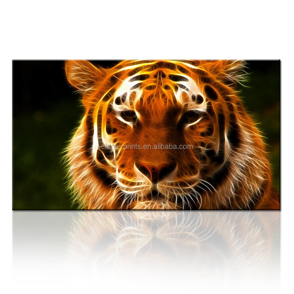 3D Abstract Print Painting Of Animal Cute Tiger Picture On Canvas Ready to Hang