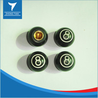 Novelty tire valve caps with 8-ball design