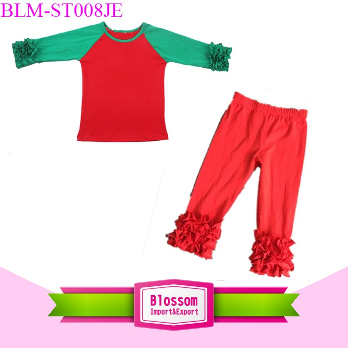 Wholesale Baby Girls Valentines Ruffle Raglan Sets Boutique Red Heart Ruffle Raglan Shirt Top And Icing Pant Outfit