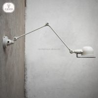 Caren Vintage industrial metal matte white chrome black rustic wall lamp