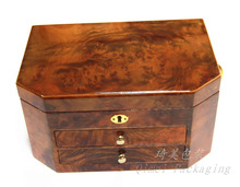 Antique handcrafted packaging box wood mirrored jewelry storage box with 2 drawers and lock