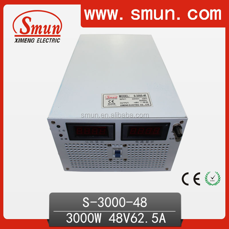 3000W 48VDC Single Output Switched Mode Power Supply S-3000-48