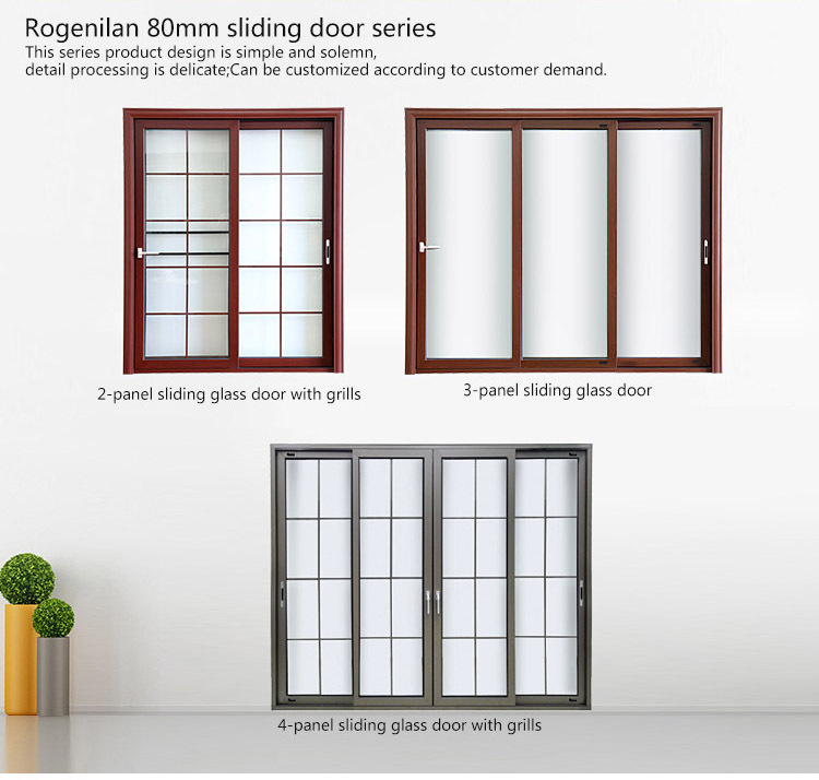 Rogenilan 80 sliding heavy duty soundproof glass low for Office main door design