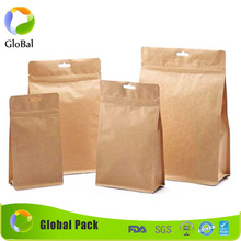 printed own logo brown Kraft paper bag with zipper stand up pouch for tea bean food packaging