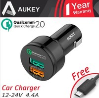 wholesale 100% original AUKEY Dual Usb fast Car Charger with 30W Quick Charger 2.0 Electronic Cigarette Universal Car