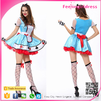 New Design Lady Cute Blue French Latex Maid Costume
