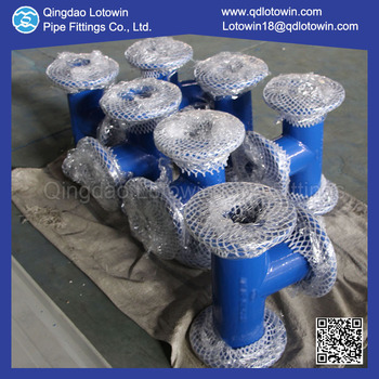 Custom Made DCI Fittings Epoxy Resin Coating All Flange Tee for conveyance of water and sewage