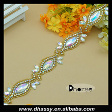 Shiny AB stone gold/silver metal trim charming AB crystal beaded bridal rhinestone trim for decoration