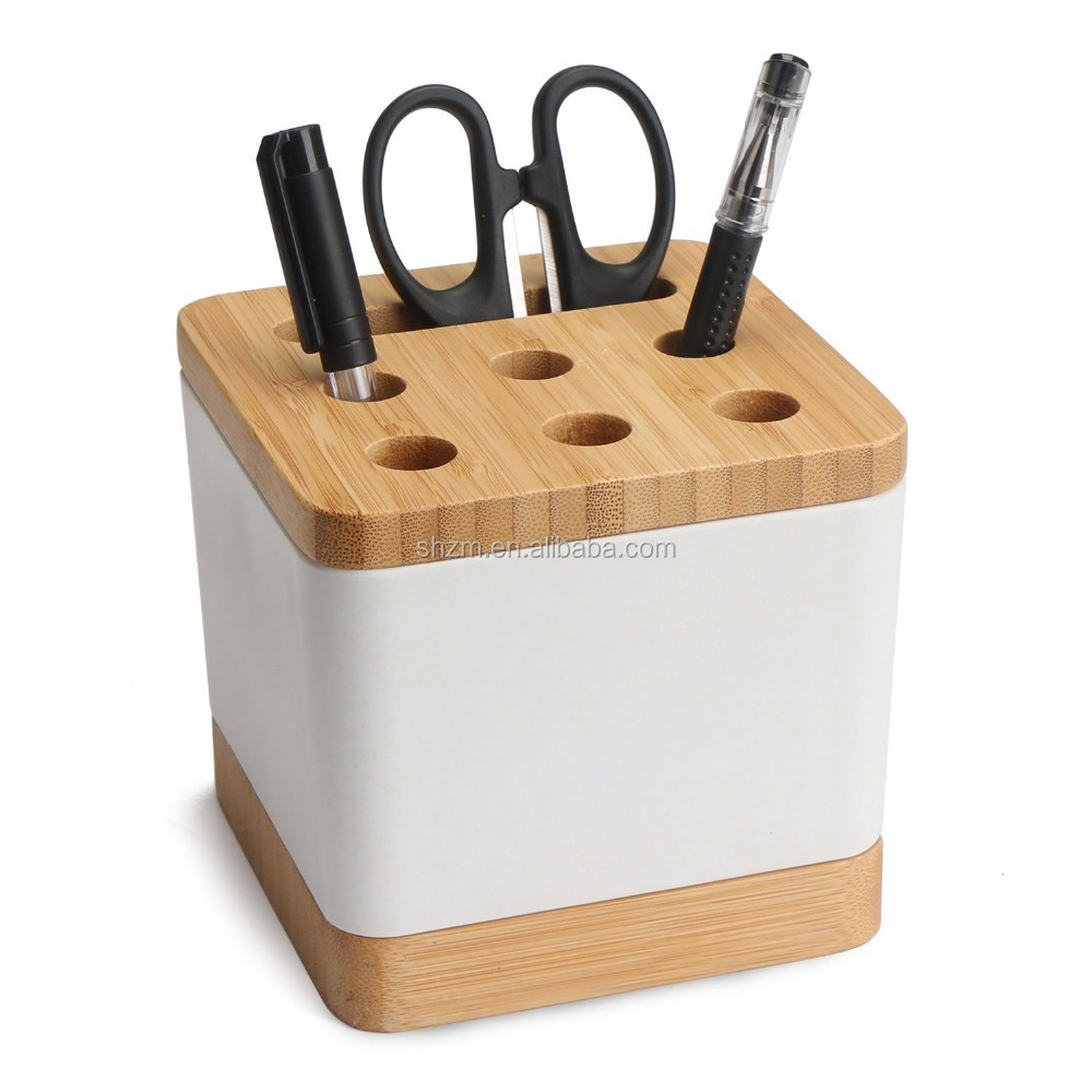 Desk Organizer, Home Offfice Multi-function Pencil Pen Holder Container with Bottom Saucer, Desktop Stationery Storage Box