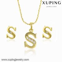 63987 high quality natural stone jewelry, xuping fashion jewelry set, gold plated alphabet jewelry set