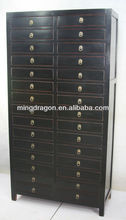 Chinese antique black wooden file cabinet with many drawers