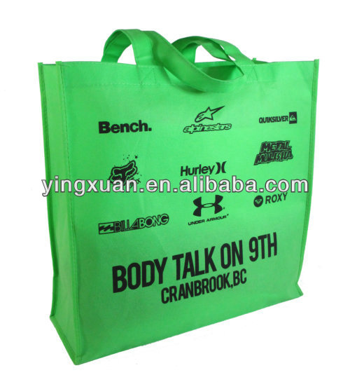 Reusable transfer printing grocery non woven shopping bag with stitch GREEN BAG