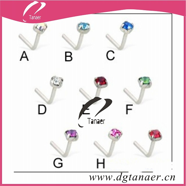 Silver L shaped nose pin with 4 prong gem