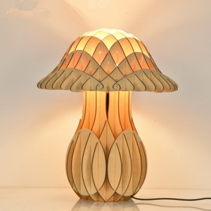 mushroom shape wood table LED lamp for foyer bar store and bedroom