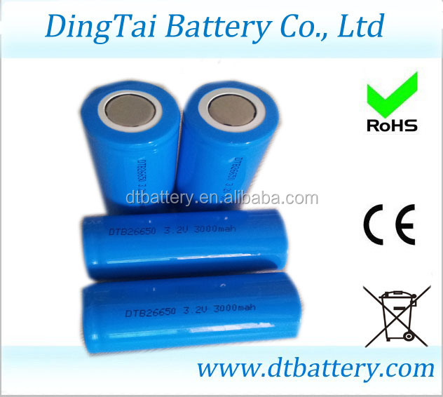 New arrival rechargeable 26650 battery 3.2v 3500mah 3C high rate discharge lifepo4 lithium 26650 battery