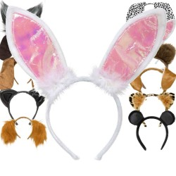 Pink & White Fancy Dress Party Cute Gift Rabbit Bunny Ear Headband