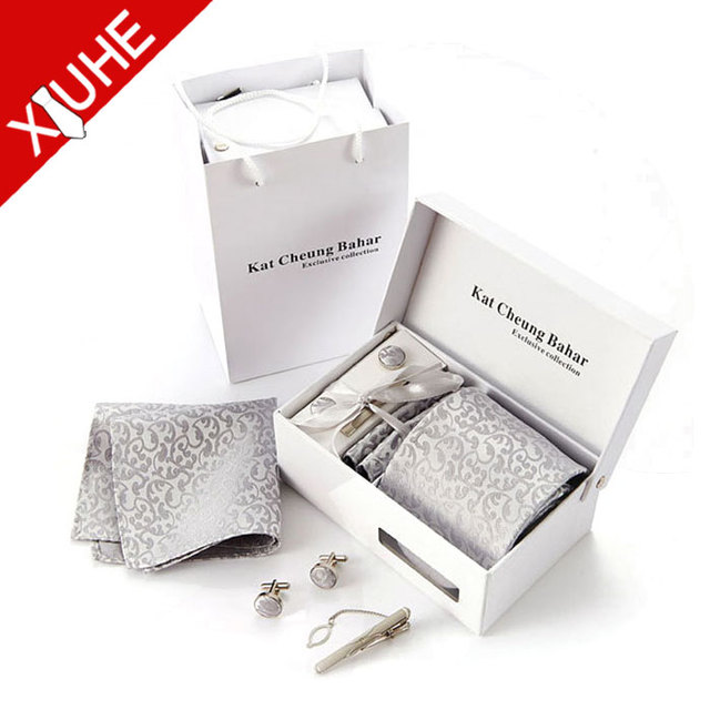 New fashion mens neck tie cufflinks gift set with logo box
