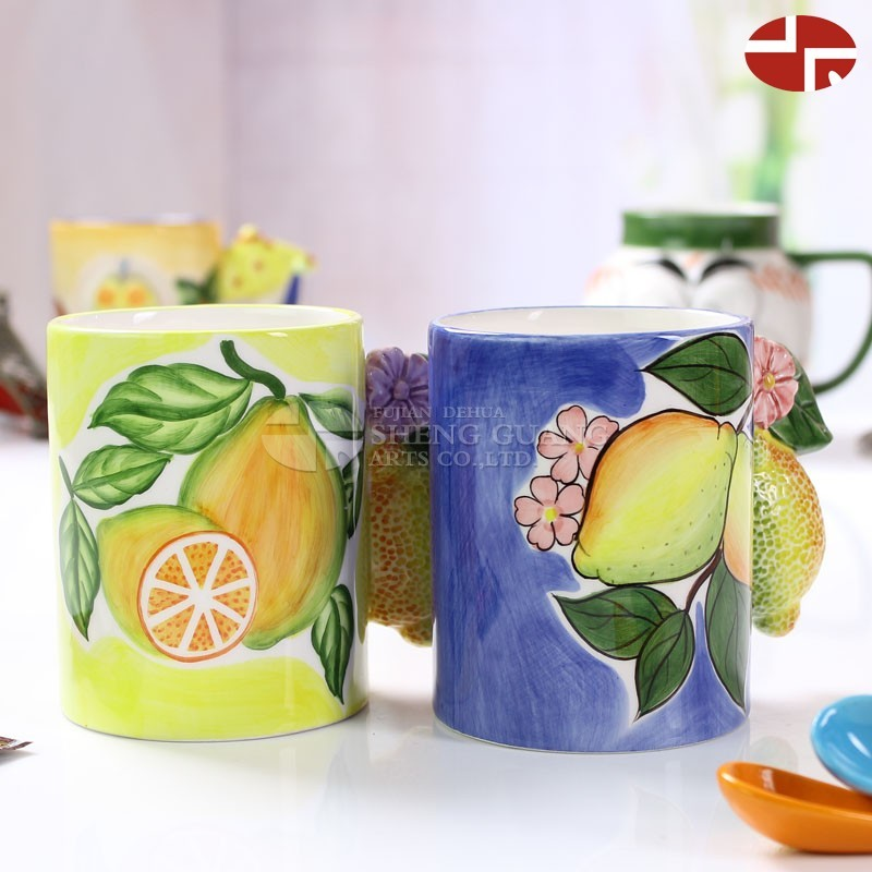 Ceramic lemon design with painting dolomite water coffee milk mug children gifts loving cup