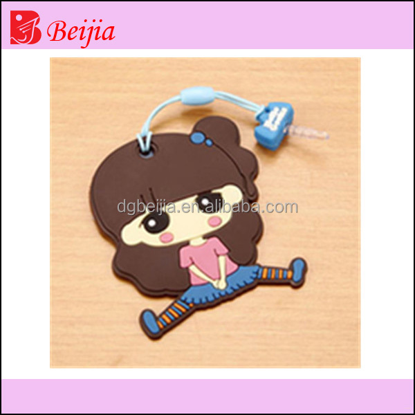 Sexy young girls 12 silicone rubbet soft pvc anti dust plug for mobile phone