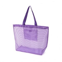 2017 new popular polyester outdoor tote beach mesh bag for women/fashion nylon mesh shopping handbag