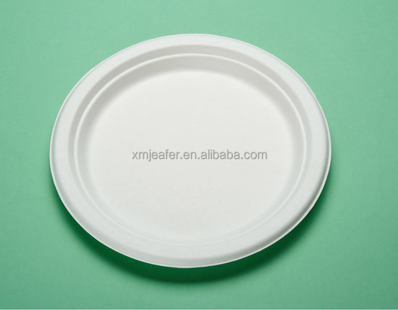 Disposable sugarcane 10 inch round paper plates