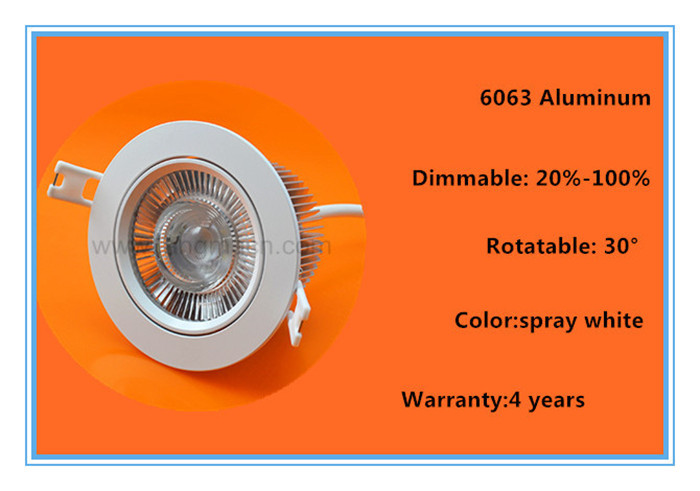 2017 hole size driverless rotatable dimmable 10w cob led downlight