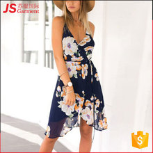 JS 2017 Women Summer Sexy Dress Printing V Neck Dress With Floral 2101