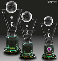 3D laser figurine crystal golf trophy
