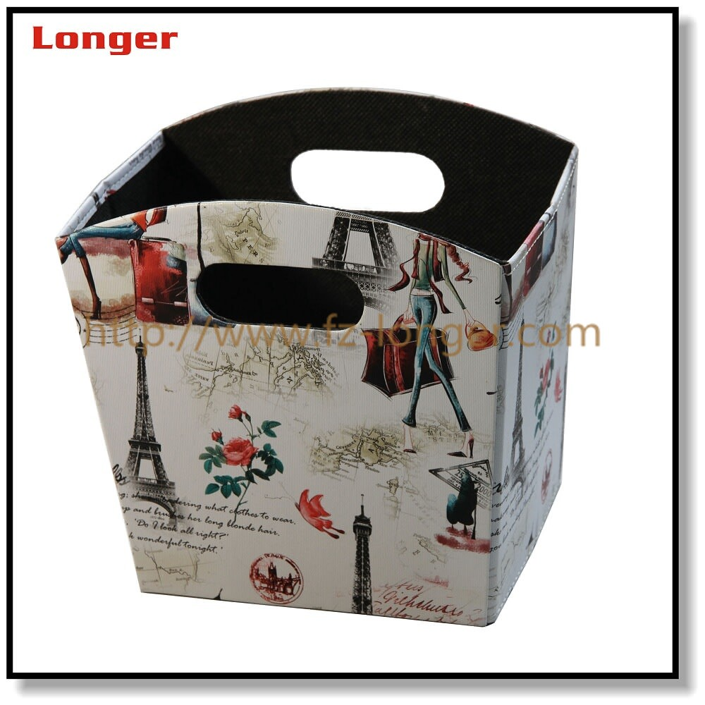 Hot sale in amazon folding printing leather home deco storage organizer