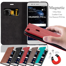 Invisible Magnet Pu Leather Flip Cover Mobile Phone Case For Huawei P10 Lite