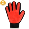 pet grooming tool glove Polyester TPR 23*18cm Red Dog Cat Bath Massage Glove with Brush