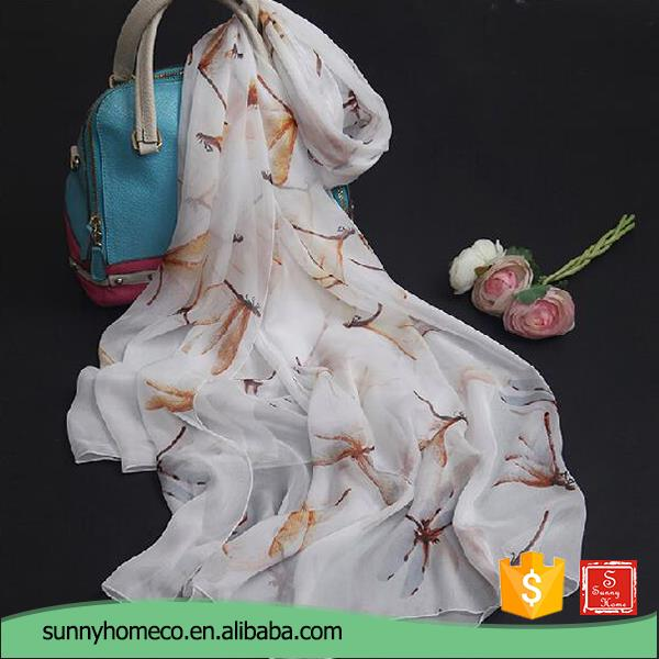 Wholesale indian Spring creamy-white scarves silk scarf