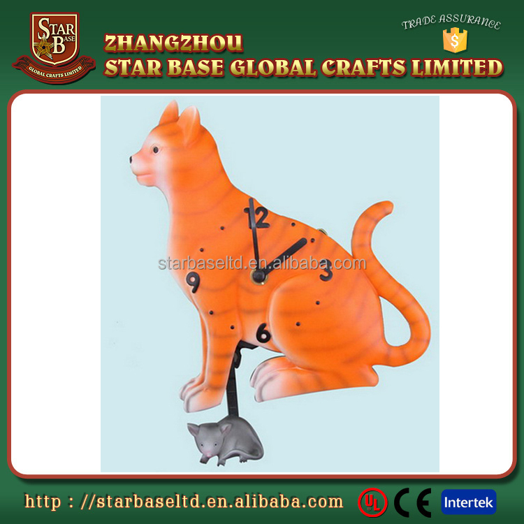 Customized resin animal cat shape decorative wall clock with great price